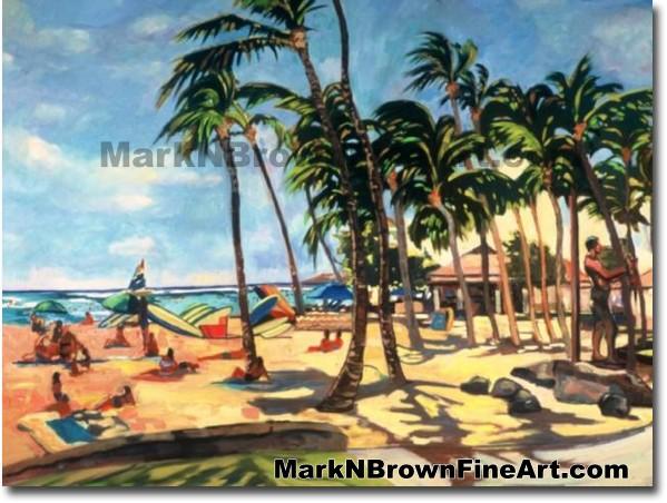 Waikiki Beach Activity   Hawaii Art by Hawaiian Artist Mark N. Brown   Plei