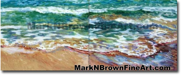 Waimanalo Kai Dyptich | Hawaii Art by Hawaiian Artist Mark N. Brown | Plein