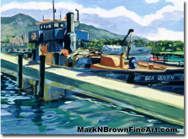 The Sea Queen At Kewalo's | Hawaii Art by Hawaiian Artist Mark N. Brown | P