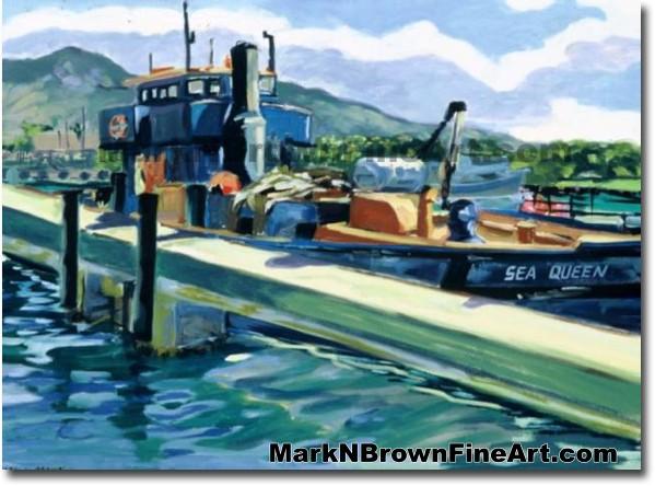 The Sea Queen At Kewalo's | Hawaii Art by Hawaiian Artist Mark N. Brown | P