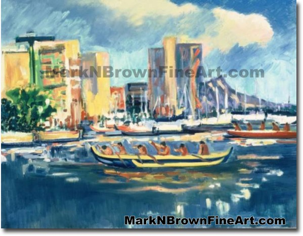 Waikiki Marina At Sunset | Hawaii Art by Hawaiian Artist Mark N. Brown | Pl