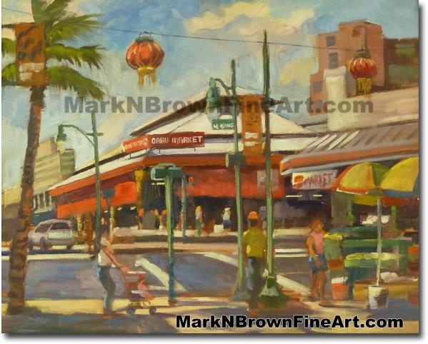 Oahu Market - Chinatown - 2 | Hawaii Art by Hawaiian Artist Mark N. Brown |