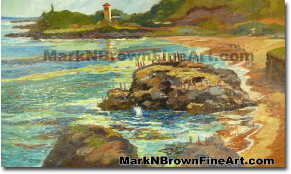 Jump Rock Of Waimea Bay | Hawaii Art by Hawaiian Artist Mark N. Brown | Ple