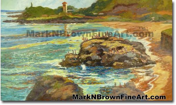 Jump Rock Of Waimea Bay | Hawaii Art by Hawaiian Artist Mark N. Brown | Ple