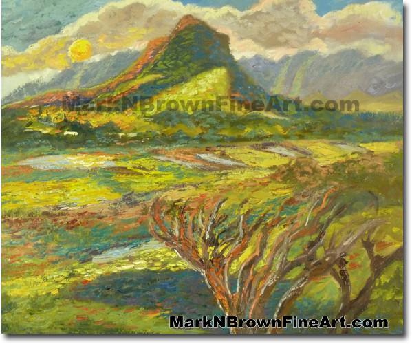 Olomana Of Windward Oahu | Hawaii Art by Hawaiian Artist Mark N. Brown | Pl