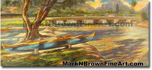 Canoes Of Kailua | Hawaii Art by Hawaiian Artist Mark N. Brown | Plein Air