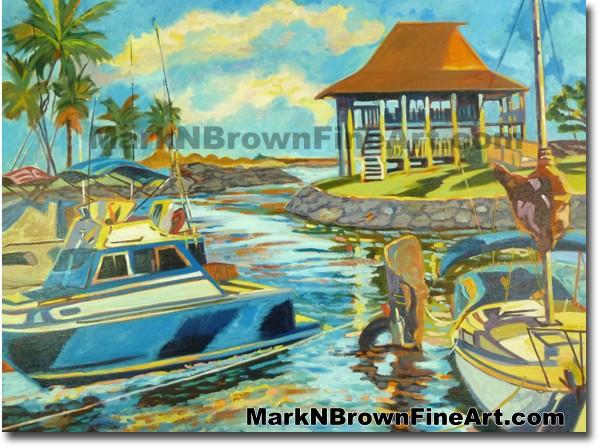 Haleiwa Harbor - 2 | Hawaii Art by Hawaiian Artist Mark N. Brown | Plein Ai