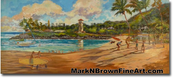 Volley Ball Day At Waimea Bay | Hawaii Art by Hawaiian Artist Mark N. Brown