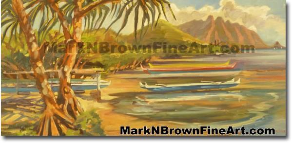Canoe Regatta At Heiea Boat Harbor | Hawaii Art by Hawaiian Artist Mark N.