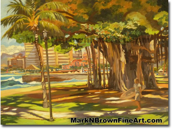 Queens Beach Waikiki - 3 | Hawaii Art by Hawaiian Artist Mark N. Brown | Pl
