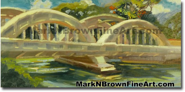 Haleiwa Bridge Morning | Hawaii Art by Hawaiian Artist Mark N. Brown | Plei