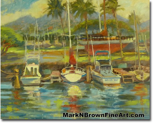Haleiwa Harbor Morning   Hawaii Art by Hawaiian Artist Mark N. Brown   Plei