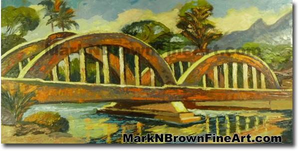 Rainbow Bridge Of Haleiwa | Hawaii Art by Hawaiian Artist Mark N. Brown | P