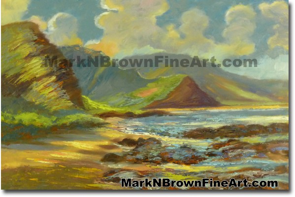 Yokohama Beach | Hawaii Art Painting by Hawaiian Artist Mark N. Brown | Ple