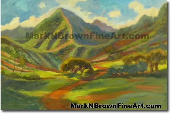 Kualoa Ranch | Hawaii Art Painting by Hawaiian Artist Mark N. Brown | Plein