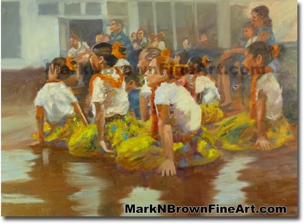 Hula Girls Up Next | Hawaii Art Painting by Hawaiian Artist Mark N. Brown |