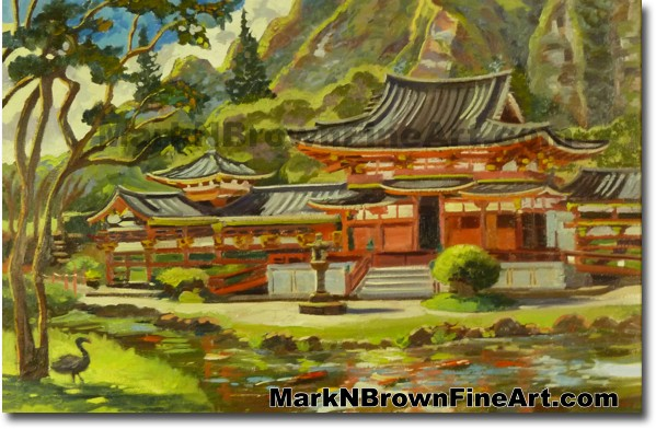 Byodo-In Valley Of The Temples | Hawaii Art Painting by Hawaiian Artist Mar