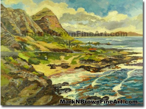 Makapu'u Lookout   Hawaii Art Painting by Hawaiian Artist Mark N. Brown   P