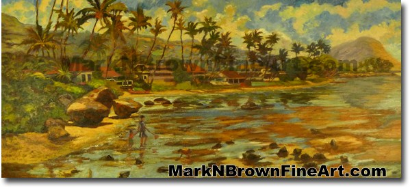 Pu'uikena Beach | Hawaii Art by Hawaiian Artist Mark N. Brown | Plein Air P