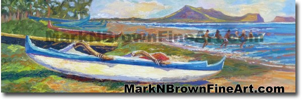 Lanikai Canoes | Hawaii Art Painting by Hawaiian Artist Mark N. Brown | Ple