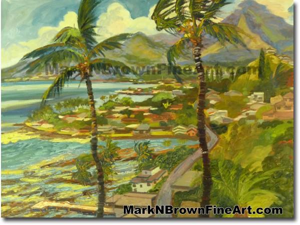 Lilipuna View Of Kaneohe  | Hawaii Art by Hawaiian Artist Mark N. Brown | P