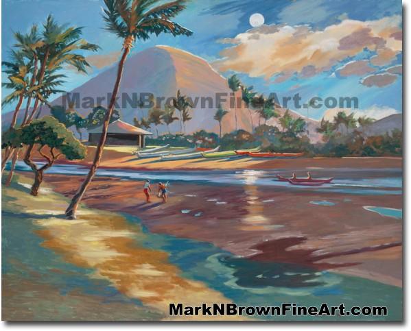 Koko Head Nocturn | Hawaii Art by Hawaiian Artist Mark N. Brown | Plein Air