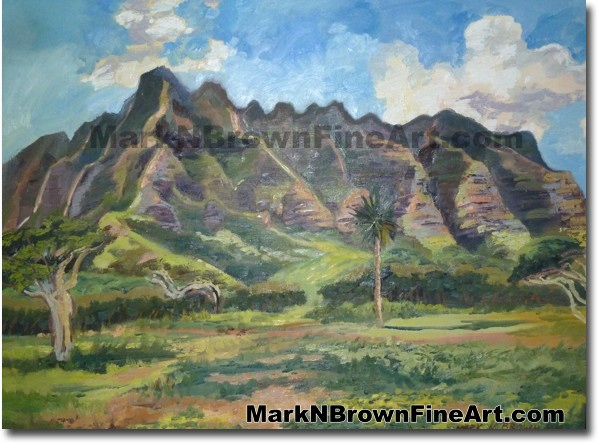 Kualoa Cliffs - Hawaii Art by Hawaiian Artist Mark N. Brown - Plein Air Pai