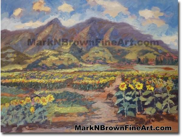 Wailua Pioneer Farms Sunflower Field by Hawaii Artist Mark N. Brown