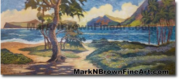 Sherwood Forest Waimanalo Bay Hawaii Fine Art by Hawaii Artist Mark N. Brow