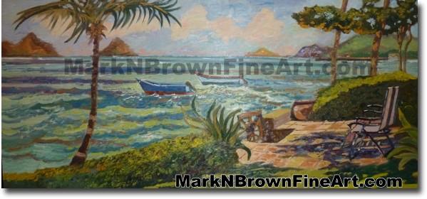 Lanikai Backyard Hawaii Fine Art by Hawaii Artist Mark N. Brown