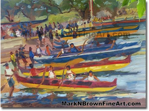 Canoe Regatta Magic Island 2014 - Hawaii Fine Art by Hawaii Artist Mark N.