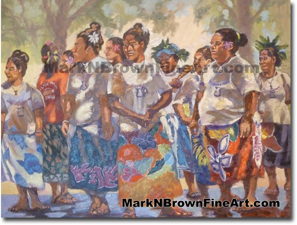 Tongan Choir - Hawaii Fine Art by Hawaii Artist Mark N. Brown