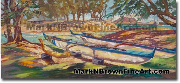 Canoes Of Kailua 2 - Hawaii Fine Art by Hawaii Artist Mark N. Brown