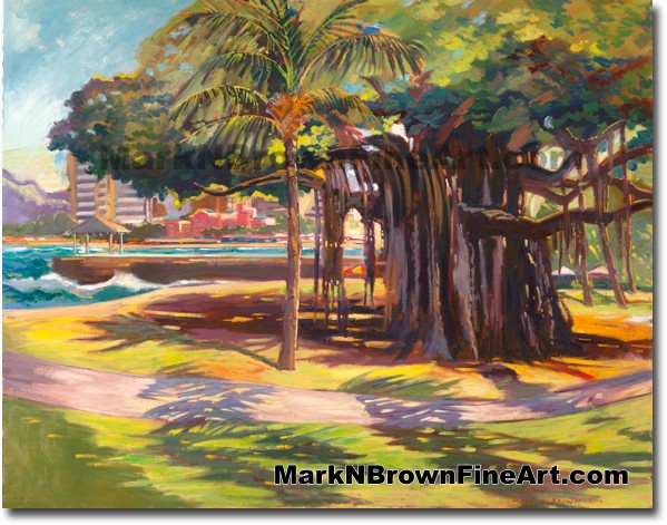 Queens Beach Waikiki - 4 - Hawaii Fine Art by Hawaii Artist Mark N. Brown