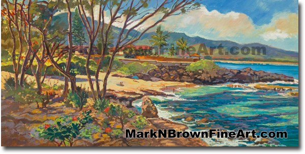 Three Tables At Pupukea 2 - Hawaii Fine Art by Hawaii Artist Mark N. Brown