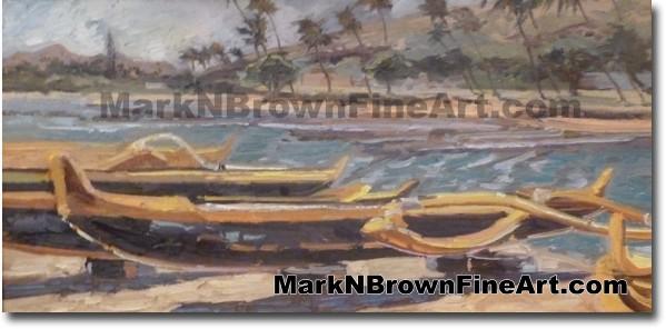 Canoes Of Kuliouou - Hawaii Fine Art by Hawaii Artist Mark N. Brown