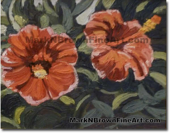 Red Hibiscus - Hawaii Fine Art by Hawaii Artist Mark N. Brown