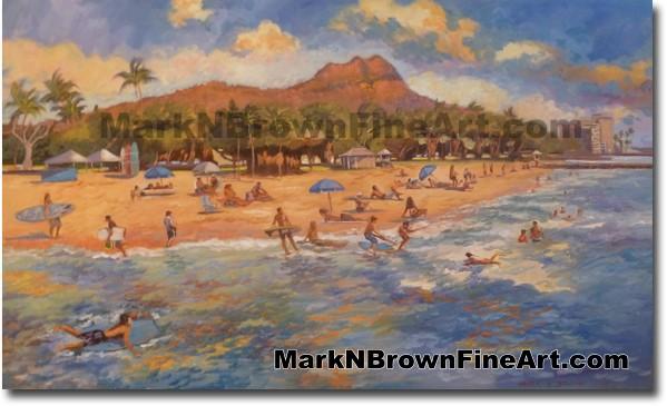 Diamond Head Playground - Hawaii Fine Art by Hawaii Artist Mark N. Brown