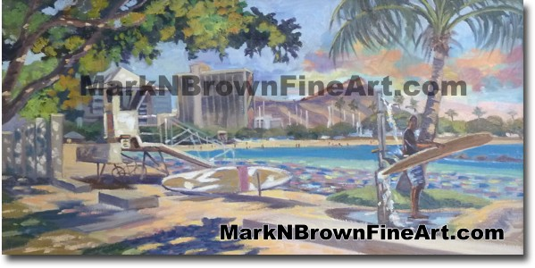 Surf Session At Ala Moana - Hawaii Fine Art by Hawaii Artist Mark N. Brown