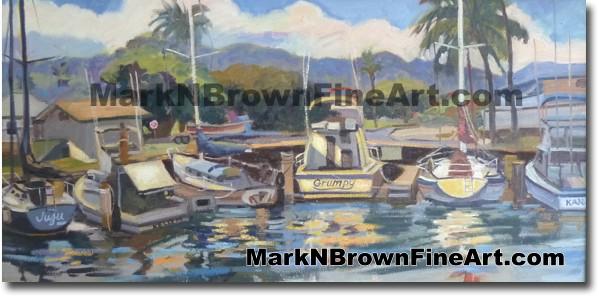 Haleiwa Boat Harbor Lineup - Hawaii Fine Art by Hawaii Artist Mark N. Brown