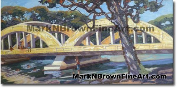 Rainbow Bridge Jumpers - Hawaii Fine Art by Hawaii Artist Mark N. Brown