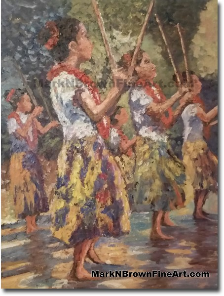 Hula Dancers In Motion - Jan 2016 - Hawaii Fine Art by Hawaii Artist Mark N