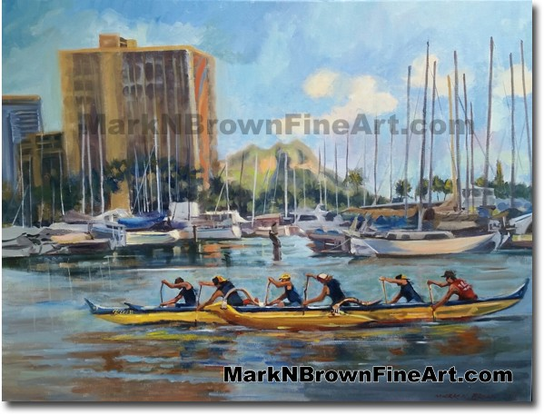 Punahou Paddlers - Jan 2016 - Hawaii Fine Art by Hawaii Artist Mark N. Brow