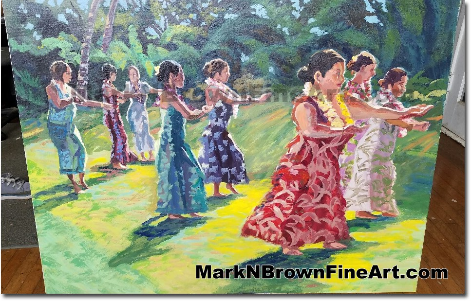 Hula Dancers 2017 - Hawaii Fine Art by Hawaii Artist Mark N. Brown