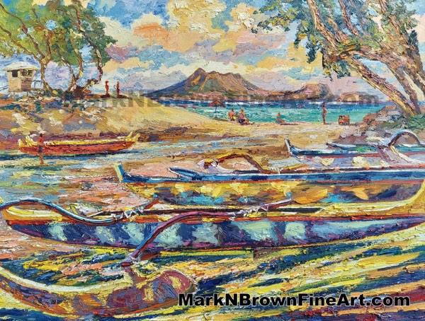 Canoes At Kailua Hawaii Fine Art By Hawaii Artist Mark N Brown January 2021