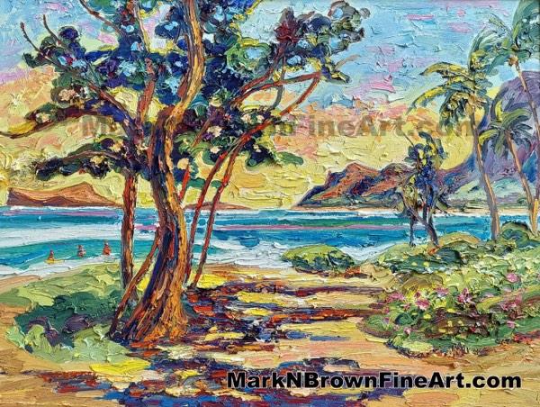 Sherwood Forest Waimanalo Bay Hawaii Fine Art By Hawaii Artist Mark N Brown