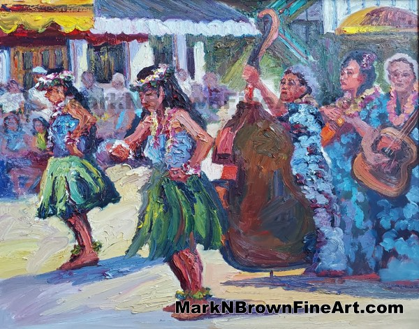 Dancers At Aloha Tower - Hawaii Fine Art By Hawaii Artist Mark N Brown