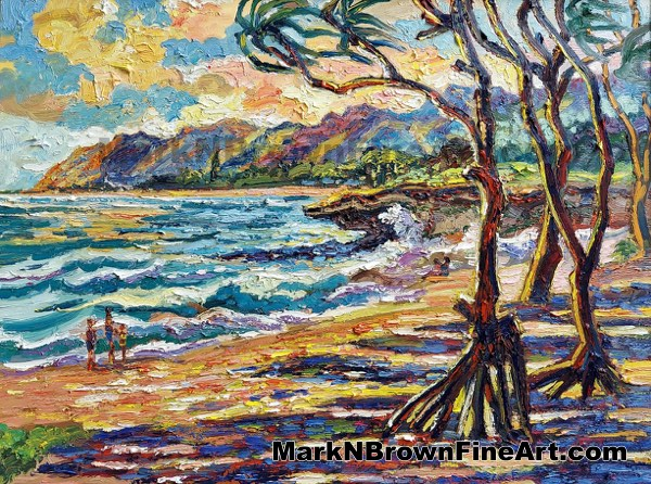 Large Break At Pounders - Hawaii Fine Art By Hawaii Artist Mark N Brown