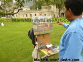 Hawaii Artist Mark N. Brown during a Plein Air Painting Art Class Workshop in Honolulu