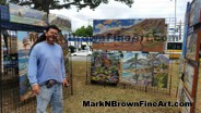 Hawaii Plein Air Artist Mark N Brown showing off his artworks at the I Love Kailua Town Party 2015